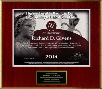 Attorney Richard D. Givens has Achieved the AV Preeminent(R) Rating - the Highest Possible Rating from Martindale-Hubbell(R).  (PRNewsFoto/American Registry)