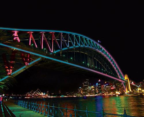 El Puerto de la Bahía de Sidney se ilumina con la primera instalación de luz mundial de Vivid