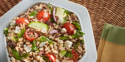 Celebrate National Rice Month with this delicious Mediterranean Salad made with the new Minute Ready to Serve Brown & Quinoa. Ready in just 60 seconds, it's the only product available of its kind in a single-serve cup similar to other Minute Ready to Serve Rice varieties with the added benefits of being a good source of fiber and gluten-free.
