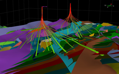 Wells and geological formations shows in Sysdrill 2012 3D view.  (PRNewsFoto/Paradigm)