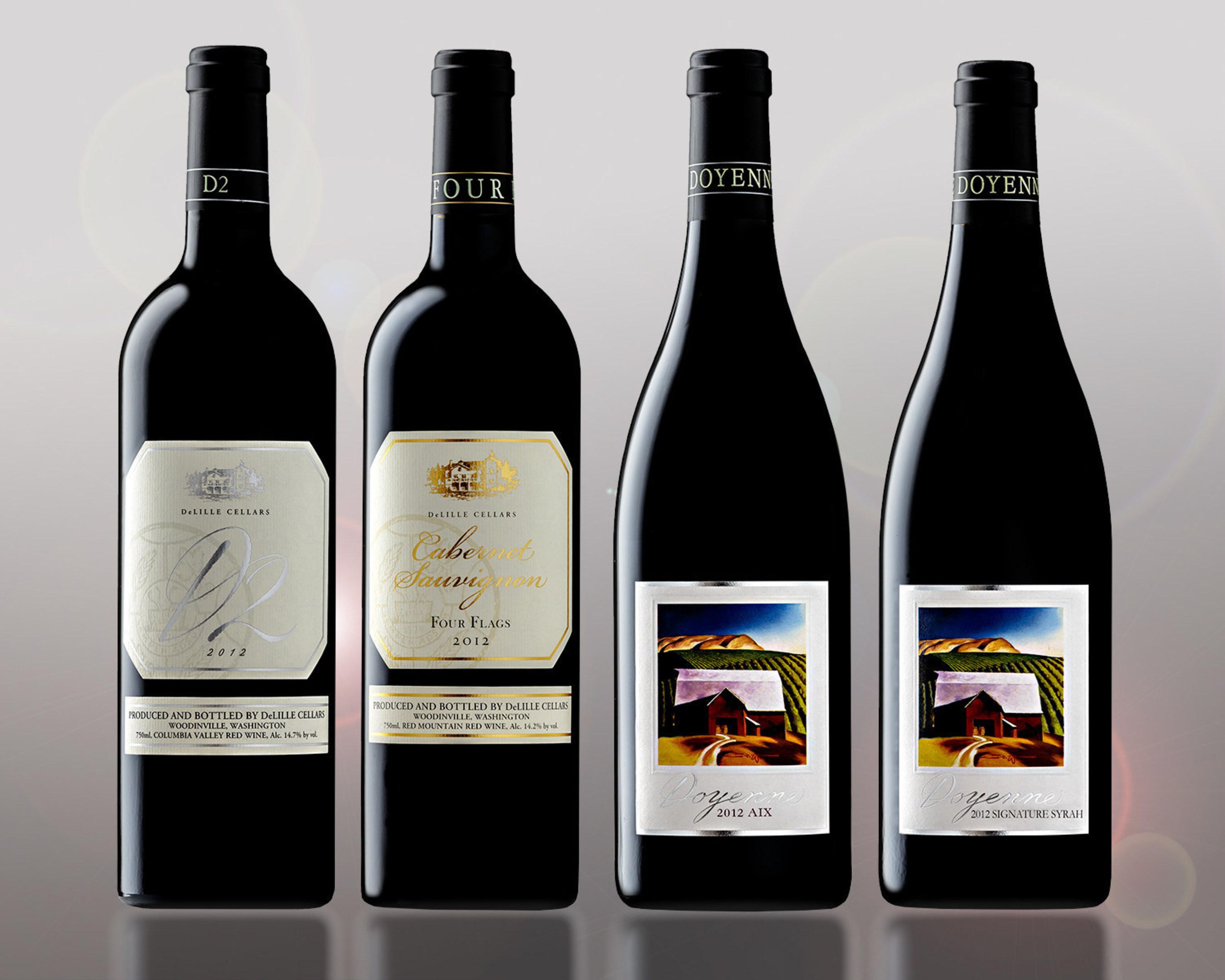 (L-R) DeLille Cellars 2012 D2, DeLille Cellars 2012 Cabernet Sauvignon Four Flags, Doyenne 2012 Aix and Doyenne  ...