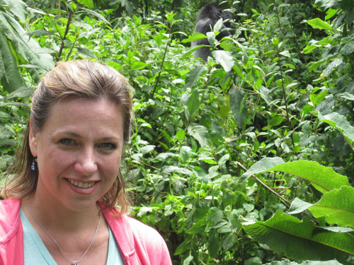 Look closely to see a gorilla to the right of Dr. Jonna Mazet, a veterinarian and epidemiologist who leads an ...