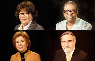 Thought Leaders (left to right) Louise Arbour, Bineta Diop, Mary Robinson, and Jonathan Sacks.  (PRNewsFoto/Carnegie Council for Ethics in International Affairs)