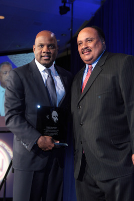 Lamell McMorris, pictured with Martin L. King, III, accepts the Keepers of the Dream Entrepreneurial Award.