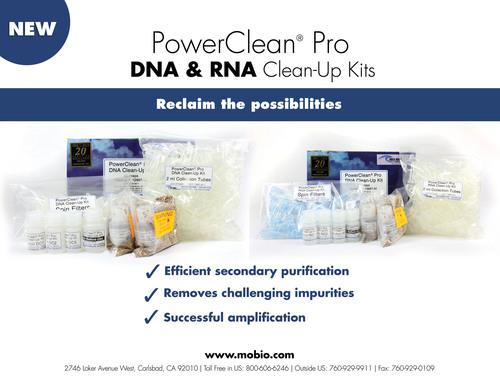 MO BIO Laboratories launches the PowerClean Pro DNA and RNA Clean-Up Kits.  (PRNewsFoto/MO BIO Laboratories, Inc.)