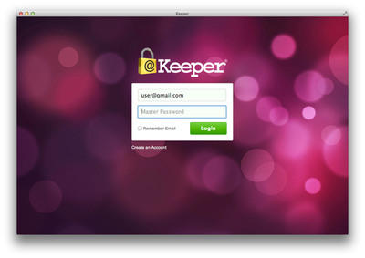 "Keeper's secure login screen with a customized ""Dots"" theme."