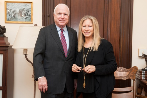 Barbra Streisand brings her passion for women's heart disease to Capitol Hill to meet with Senator John McCain about women's number one killer. (PRNewsFoto/Barbra Streisand Women's Hear...)