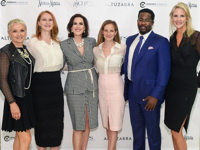 The C.H.I.P.S. Annual Spring Luncheon 2015 organizers, sponsors and honorees welcome guests. Right to left-Vice President and General Manager Gretchen Pace of Neiman Marcus, First Lady of Los Angeles (wife of L.A. Mayor Eric Garcetti)  Amy Wakeland, C.H.I.P.S. Vice President Bridget Gless Keller, CEO Karis Durmer of Altuzarra, Actor &  Honoree Daniel Beaty, and C.H.I.P.S. President Jill Olofson.