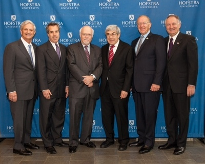 (L to R) Richard Guardino, Jr., Vice President for Business Development, Hofstra University; Alan Cohen, Assistant Vice President for Private Banking, Capital One; Stuart Rabinowitz, President, Hofstra University; Stanley Bergman, Chairman of the Board and Chief Executive Officer, Henry Schein, Inc.; David McDonough, Assemblyman (District 14), New York State; and George Maragos, Comptroller, Nassau County