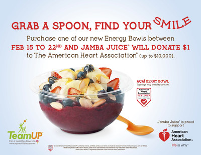 Five of Jamba Juice's Energy Bowls are certified with the AHA as a heart-healthy meal choice: the Island Acai Bowl, Berry Bowl, Mango Peach Bowl, Acai Berry Bowl, and Tropical Acai Bowl. From February 12-22, Jamba will donate $1 to the AHA for every Energy Bowl sold, up to a maximum of $10,000. These donations will help fund research, education, advocacy, and community outreach programs.