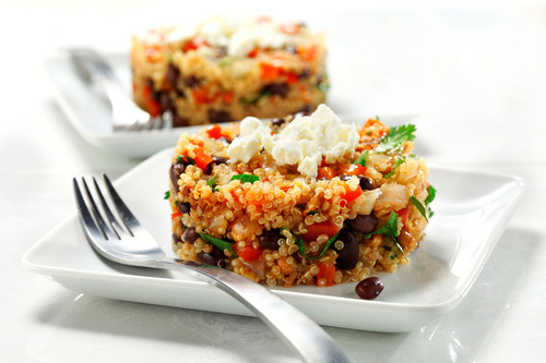 Skillet Quinoa with Black Beans, Cilantro and Feta: This quick and easy dish is a made-to-order meal for everyday athletes. Quinoa, a gluten-free whole grain, and black beans supply athletes with carbohydrates, fiber, protein and other nutrients that help produce energy, restore cells and replenish nutrient stores. Canola oil keeps saturated fat to a minimum and lets the fresh ingredients shine. (PRNewsFoto/CanolaInfo) (PRNewsFoto/CANOLAINFO)