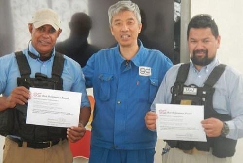 From left to right Ed Jennins, Mr. Sun Zengsheng (GWDC), David Morice (PRNewsFoto/TA'AZ Group)