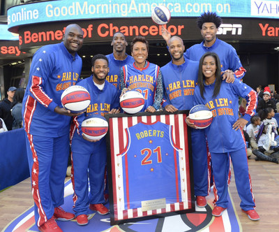 In celebration of 90 years of providing smiles, sportsmanship and service to millions of people worldwide, the world famous Harlem Globetrotters named TV personality Robin Roberts the 10th Honorary Harlem Globetrotter in team history, launched their new community outreach program, The Great Assist, and announced that tickets are on sale for their 90th year of touring the world. Photo courtesy of Ida Mae Astute/ABC.