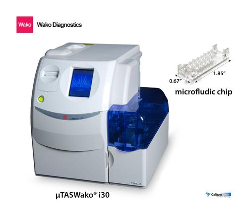 uTASWAKO i30s and microfludic chip by Wako Life Sciences. (PRNewsFoto/Wako Life Sciences, Inc.) (PRNewsFoto/WAKO LIFE SCIENCES, INC.)