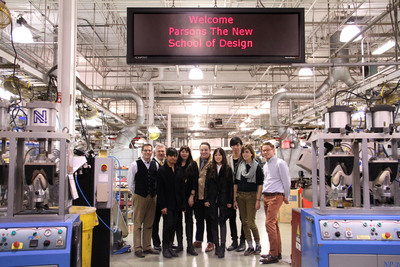 The six semi-finalists from Parsons The New School For Design tour the Allen Edmonds factory in Port Washington, Wis.