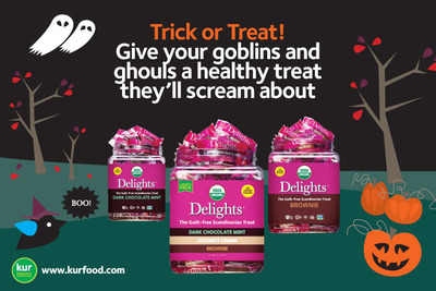 Delights(TM), the Guilt-free Scandinavian Treat, offer the perfect solution for healthy Halloween option. Delights(TM) are naturally sweet and USDA Organic, Non-GMO, Vegan, Gluten-free, Kosher. Produced by KUR Organic Superfoods. www.kurfood.com.  (PRNewsFoto/KUR Organic Superfoods)