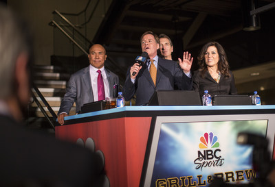 Top NBC Sports commentators - including Cris Collinsworth, Bob Costas, Michele Tafoya and Hines Ward - helped celebrate the grand opening of the world's first-ever NBC Sports Grill & Brew at Universal Orlando Resort.