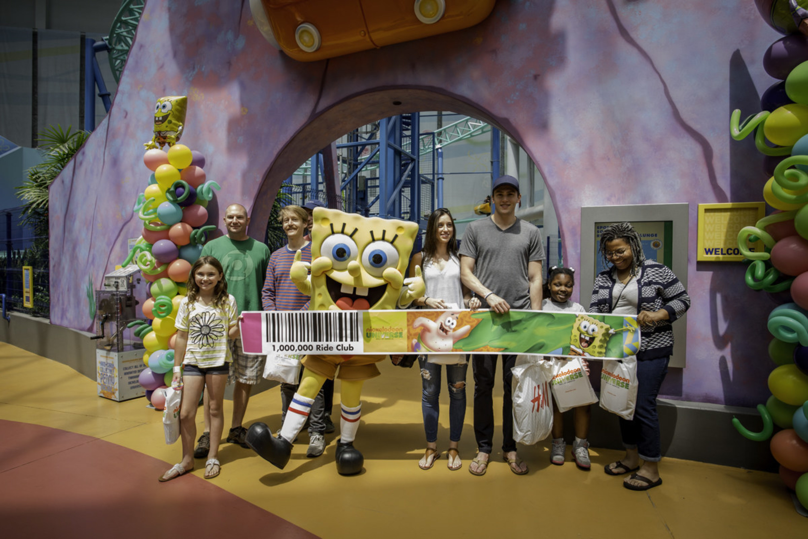 Eight lucky guests receive 1 million free rides to Nickelodeon Universe after riding the 1 millionth coaster cart on the thrilling SpongeBob Rock Bottom Plunge ride in Nickelodeon Universe at Mall of America.