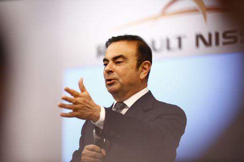 Renault-Nissan Alliance CEO Carlos Ghosn addressing media in Chennai.Credit: Gopalakrishnan