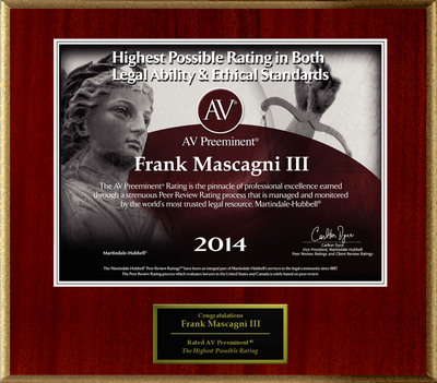 Attorney Frank Mascagni III has Achieved the AV Preeminent® Rating - the Highest Possible Rating from Martindale-Hubbell®.