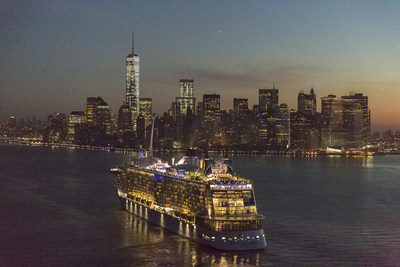 The world's first smartship, Quantum of the Seas, sails into New York Harbor.