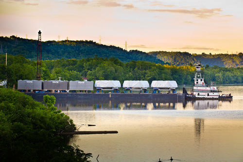 Voith stators and distributors being shipped from Hannibal, Ohio and bound for the Smithland Hydroelectric ...