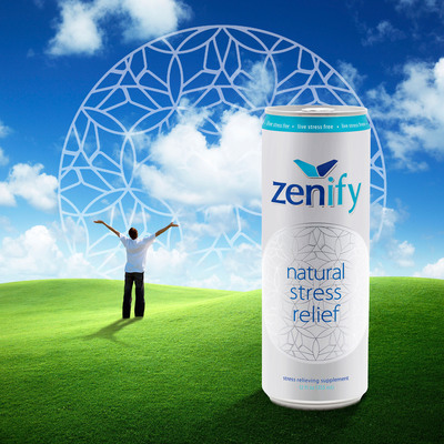 Zenify, the all-natural stress relief drink, launches in first Rexam 12 oz. SLEEK(R) can in the U.S. to utilize tactile printing technology.  (PRNewsFoto/Rexam)