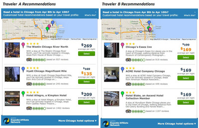 Travelers a and b get personalized hotel recommendations with Traxo. (PRNewsFoto/Traxo)