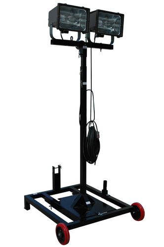 This unit consists of two 400 watt metal halide lamps mounted on top of an aluminum cart with solid rubber wheels, an extendable center tower, and provides a portable and easily deployed source for work site illumination. The two 400W-MH metal halide fixtures on this unit are weatherproof and suitable for use in outdoor marine applications, making this light cart an ideal lighting solution for industrial applications, shipyards, maufacturing, construction, and outdoor work areas.  (PRNewsFoto/Larson Electronics)