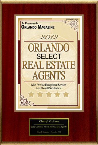 """Cheryl Gritzer Selected For """"2012 Orlando Select Real Estate Agents"""".  (PRNewsFoto/American Registry)"""