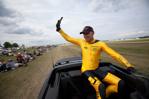"Yves ""Jetman"" Rossy greets fans after his first public flight in the U.S. Photo by Mike Shore, courtesy  ..."