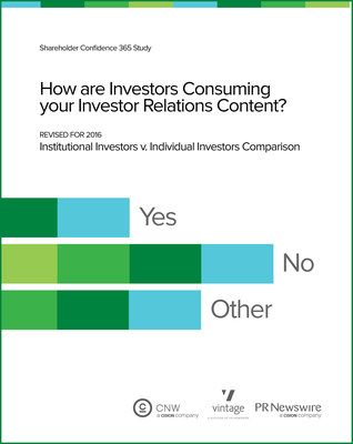 "PR Newswire & Vintage to Showcase ""How Are Investors Consuming Your Investor Relations Content?"" at National Investor Relations Institute 2016 IR Fundamentals Conference. Understanding Wall Street and Main Street investors drive conversations at annual event in Boston MA, Sept 18 - 21"
