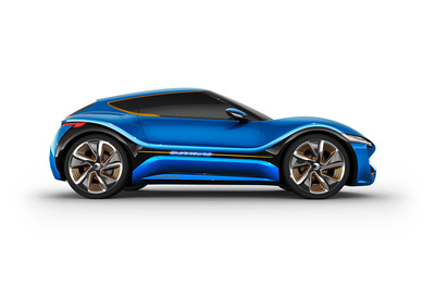 Highlight at 2015 Geneva International Motor Show: the new QUANTiNO. Low-voltage vehicle with rated voltage of 48 V, range of over 1,000 km, 4x25 kW/136 hp, top speed of 200 km/h, 22-inch wheels. (PRNewsFoto/nanoFlowcell AG)