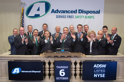 The Advanced Disposal executive leadership team and Board of Directors counts down to the closing bell on the New York Stock Exchange on October 6, 2016.