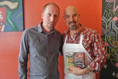 Chef Roberto Santibanez and Brad Golden after a cooking lesson hosted by Avocados from Mexico.  (PRNewsFoto/Mexican Hass Avocado Importers Association)