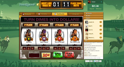 "DerbyJackpot.com's ""Dime Bet"" lets players bet on horse races for as little as ten cents.  (PRNewsFoto/DerbyJackpot)"