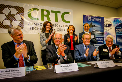 (Front L-R): Dr. Mark Johnson, Director of the Department of Energy's Advanced Manufacturing Office; Dr. Luke Robins, President, Peninsula College; Dr. Craig Blue, IACMI-The Composites Institute CEO; Robert Larsen, Composite Recycling Technology Center CEO(Back L-R): Colleen McAleer, Port of Port Angeles President; Maria Cantwell, State of Washington Senator; Brian Bonlender, Washington State Department of Commerce Director