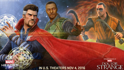 "New content for ""Marvel Heroes 2016"" (MarvelHeroes.com) inspired by Marvel's ""Doctor Strange"" includes new costumes, new Team-Up Super Heroes and a themed event."