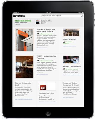 HeyStaks iPad search results
