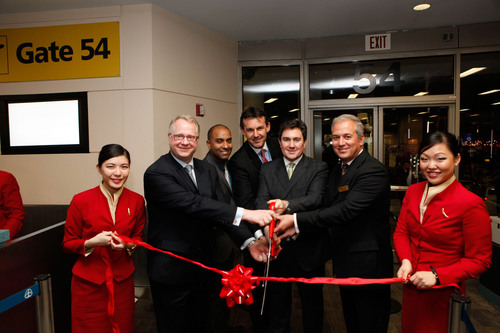 Russ Fortson, manager customer service & product development, Cathay Pacific Airways, Eric Saywack, airport station manager, Cathay Pacific Airways, Sebastien Granier, sales director, Eastern USA, Cathay Pacific Airways, Tom Owen, senior VP, Americas, Cathay Pacific Airways and Eric Odone, vice president sales & marketing, Americas, Cathay Pacific Airways attend Cathay Pacific Airways Launches A New Daily Non-Stop Service Between Newark Liberty International Airport And Hong Kong on March 1, 2014 in Newark. (Photo by Thos Robinson/Getty Images  ...
