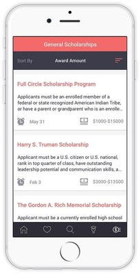 Schoold's scholarship feature displays relevant scholarships that can be sorted by amount or deadline.