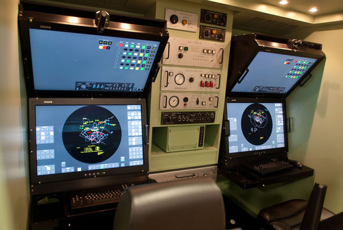 Modernized Patriot: New Patriot Modern Man Station has 30-inch color LCD displays with touch screens and soft ...