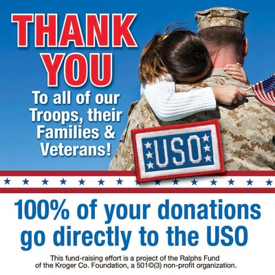 Customers may support the USO by donating their spare change in the checkstand canisters featuring this message at all Ralphs stores.