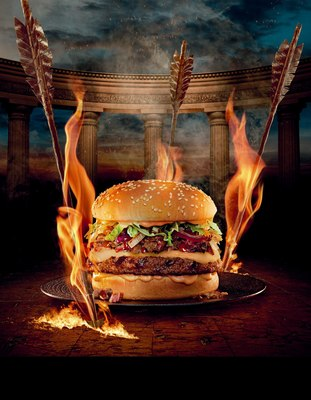 "The limited edition Colossus Burger, inspired by the upcoming film ""Hercules,"" is available at Red Robin(R) restaurants now through Sept. 1, 2014 (PRNewsFoto/Red Robin Gourmet Burgers, Inc.)"
