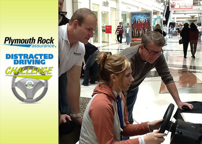 New Jersey auto insurer Plymouth Rock Assurance is bringing virtual driving simulators to area locations as part of their Distracted Driving Challenge. Join the movement to stop distracted driving in New Jersey.  (PRNewsFoto/Plymouth Rock Assurance)