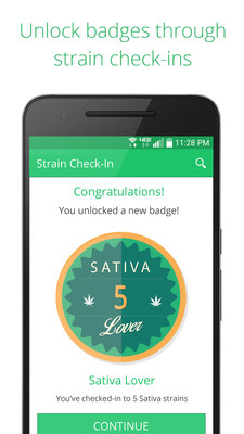 Earn badges and rewards for checking into different cannabis strains