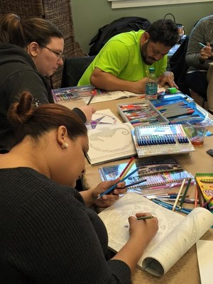 Injured service members enjoy color pencil and intricate designs.