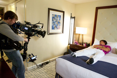 PGA TOUR pro Rickie Fowler films a scene for the latest Crowne Plaza Hotels & Resorts television ad.
