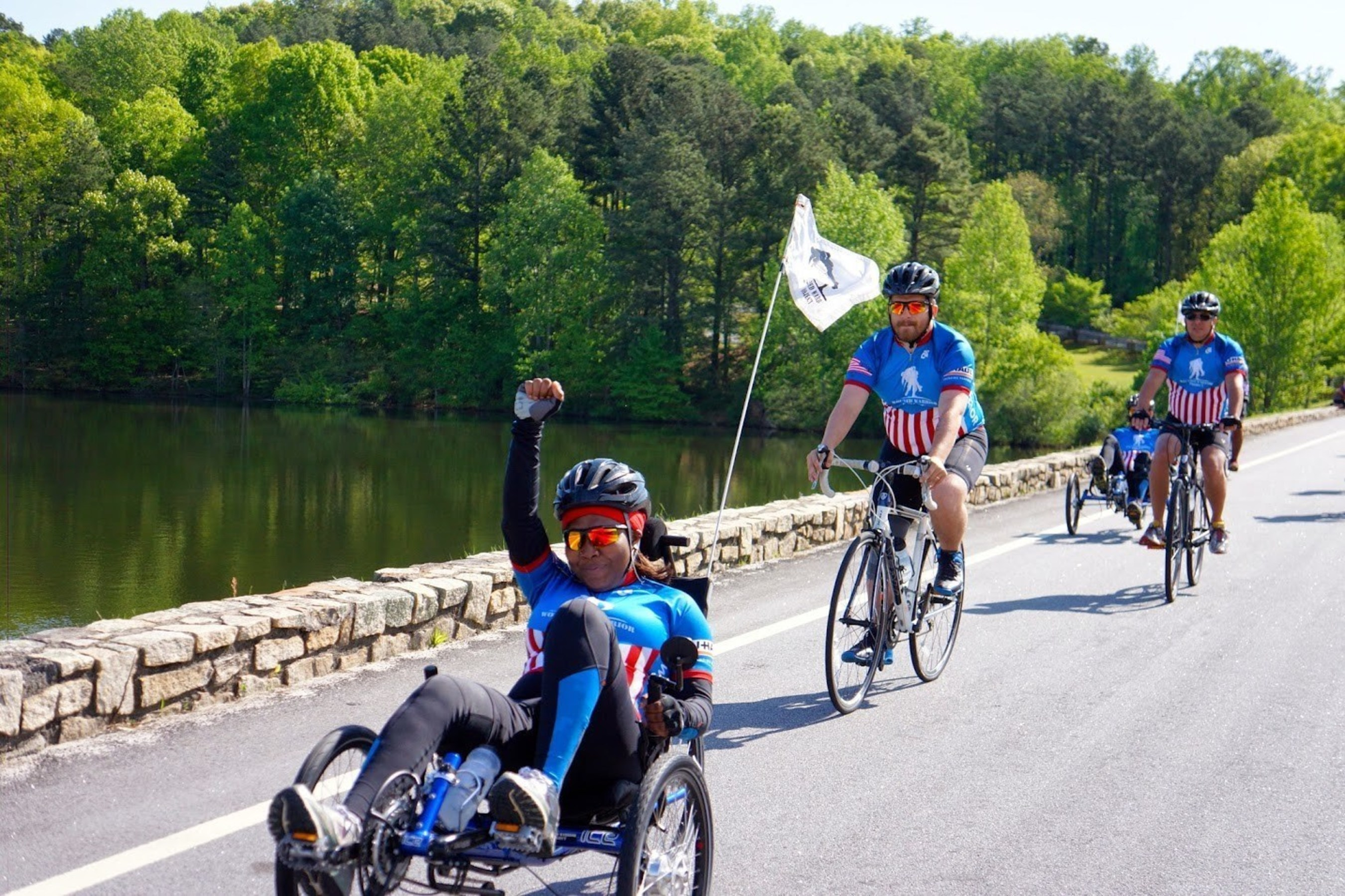 Wounded veterans participating in the 2015 Wounded Warrior Project Soldier Ride in Atlanta.