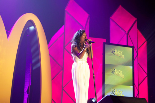 GRAMMY(R)-nominated recording artist Melanie Fiona performed during the ninth annual McDonald's(R) 365Black(R) Awards, held for the first time at the Mahalia Jackson Theater, in New Orleans on July 6.  (PRNewsFoto/McDonald's USA, LLC)